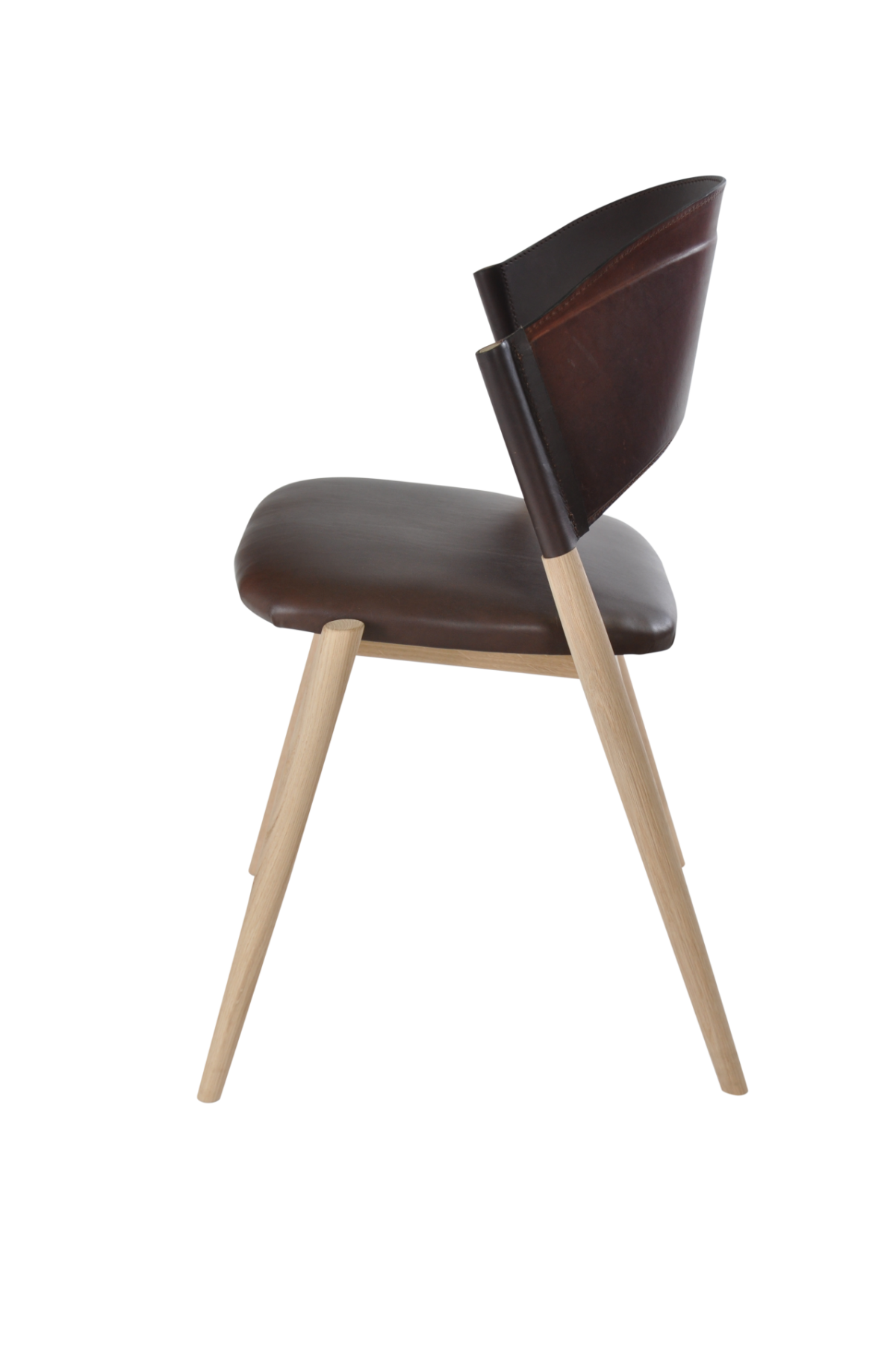 A Chair oak wood mocca leather