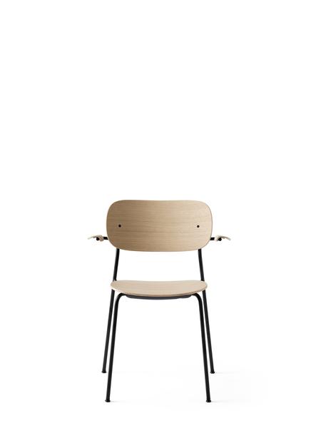 1165039 Co Chair Black Base Natural Oak w Armrest 1