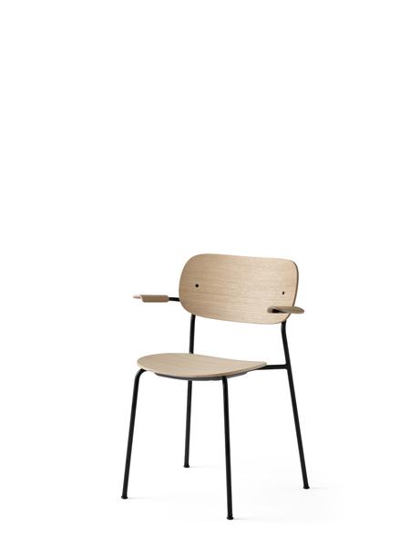 1165039 Co Chair Black Base Natural Oak w Armrest 3