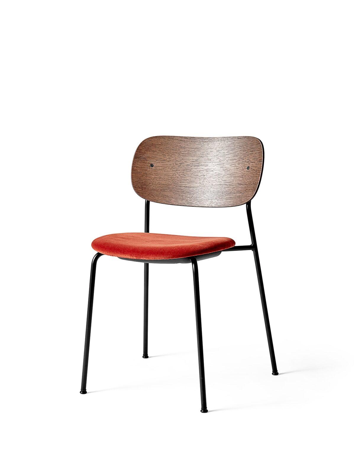 1166849 Co Dining Chair Dark Stained Oak City Velvet CA7832 062 angle