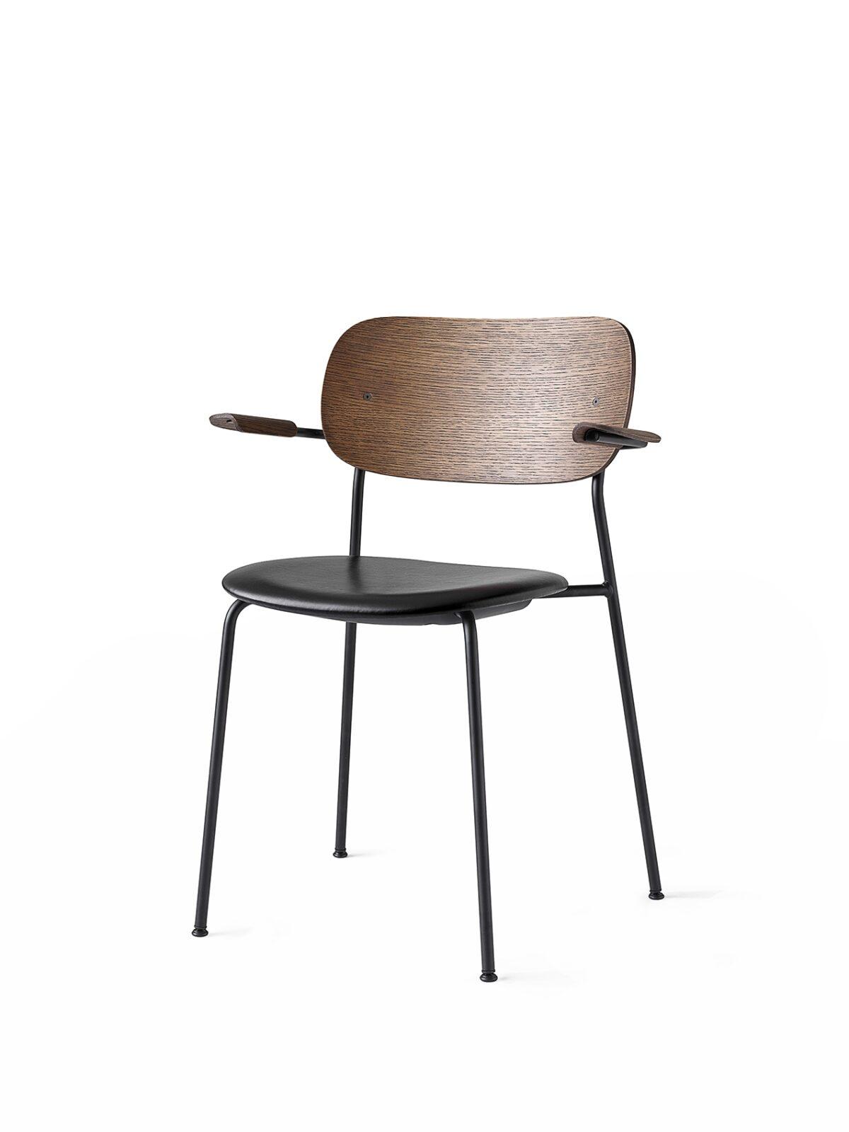 1169849 Co Dining Chair Armrest DakarBlack0842 DarkStainedOak Black Angle