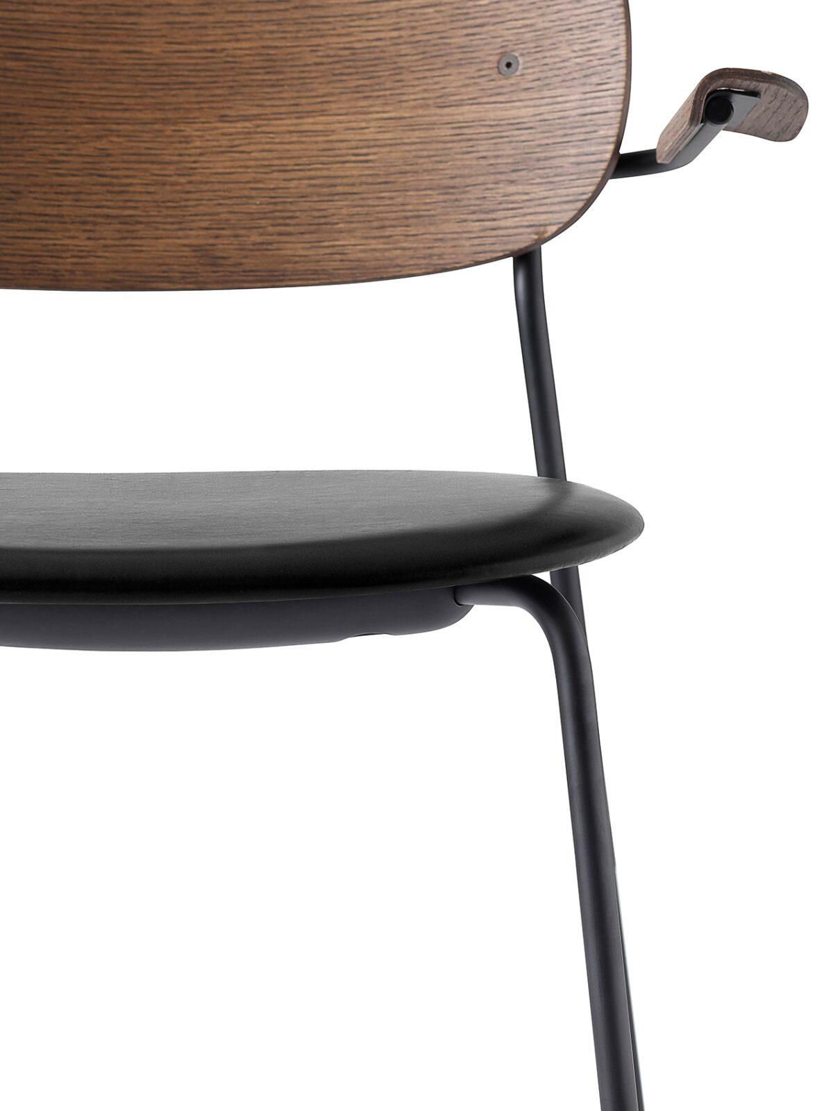 1169849 Co Dining Chair Armrest DakarBlack0842 DarkStainedOak Black CloseUp