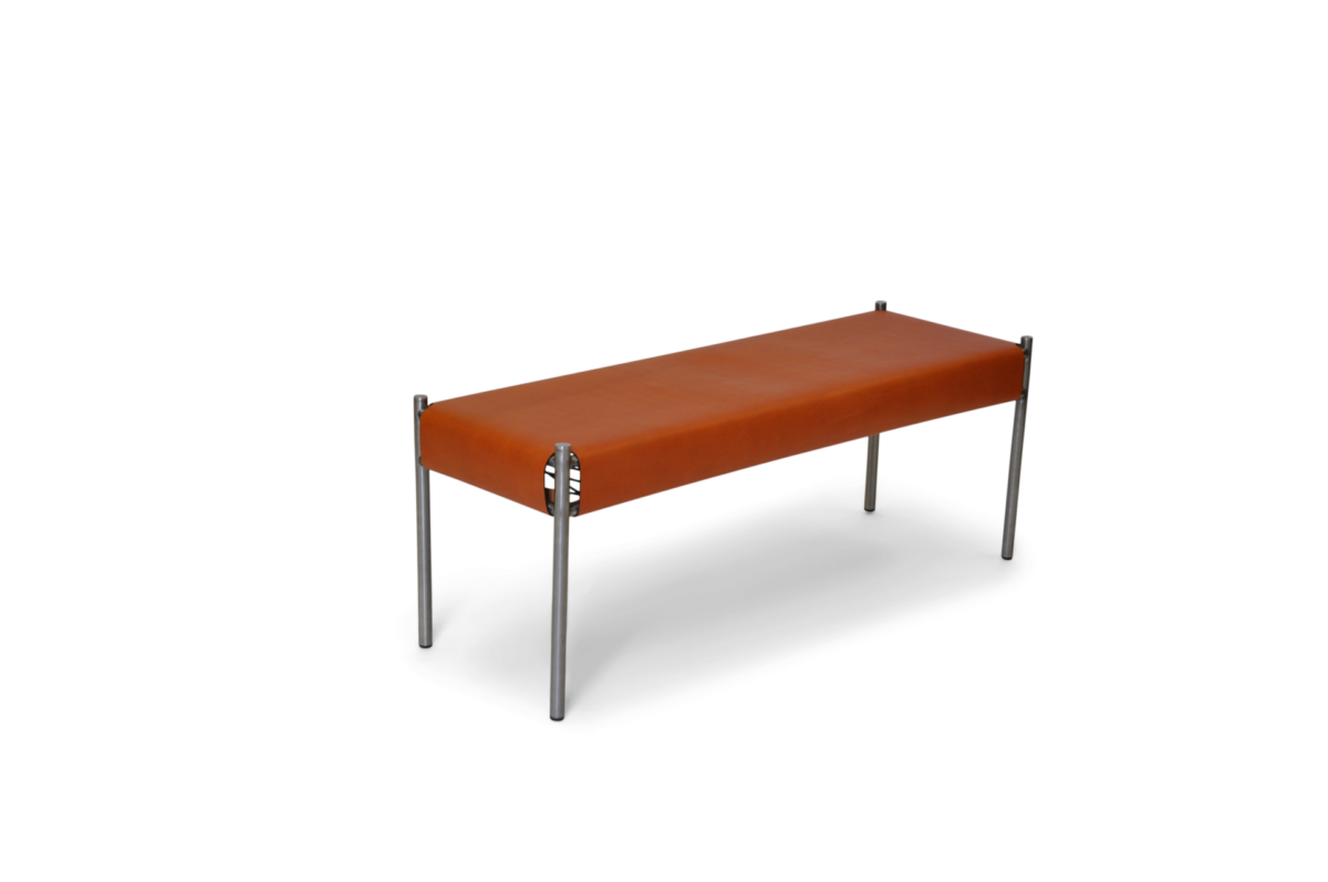 Day bench stainless steel hazelnut leather