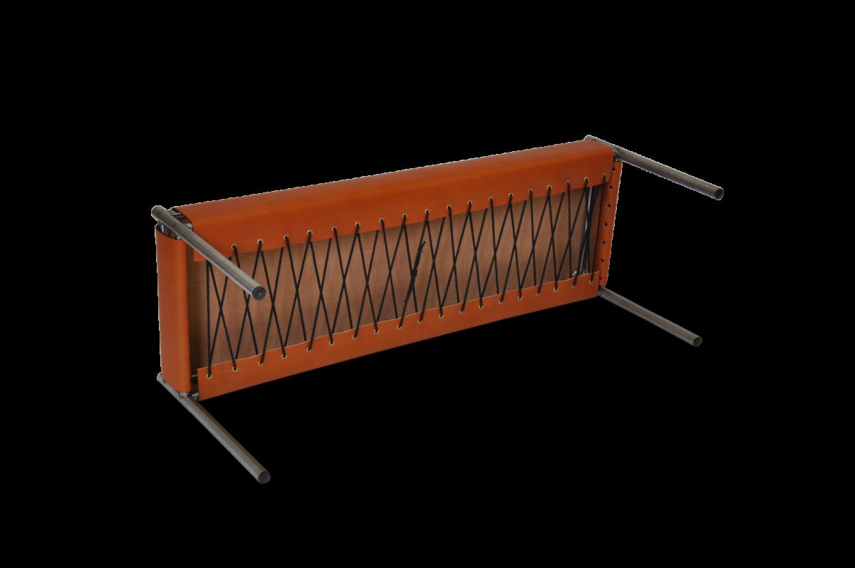 Day bench stainless steel hazelnut leather underneath