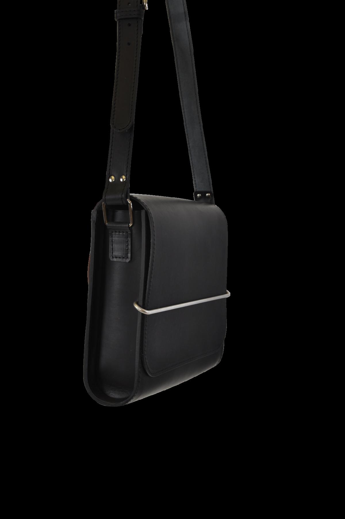OX Bag black leather stainless steel buckle medium