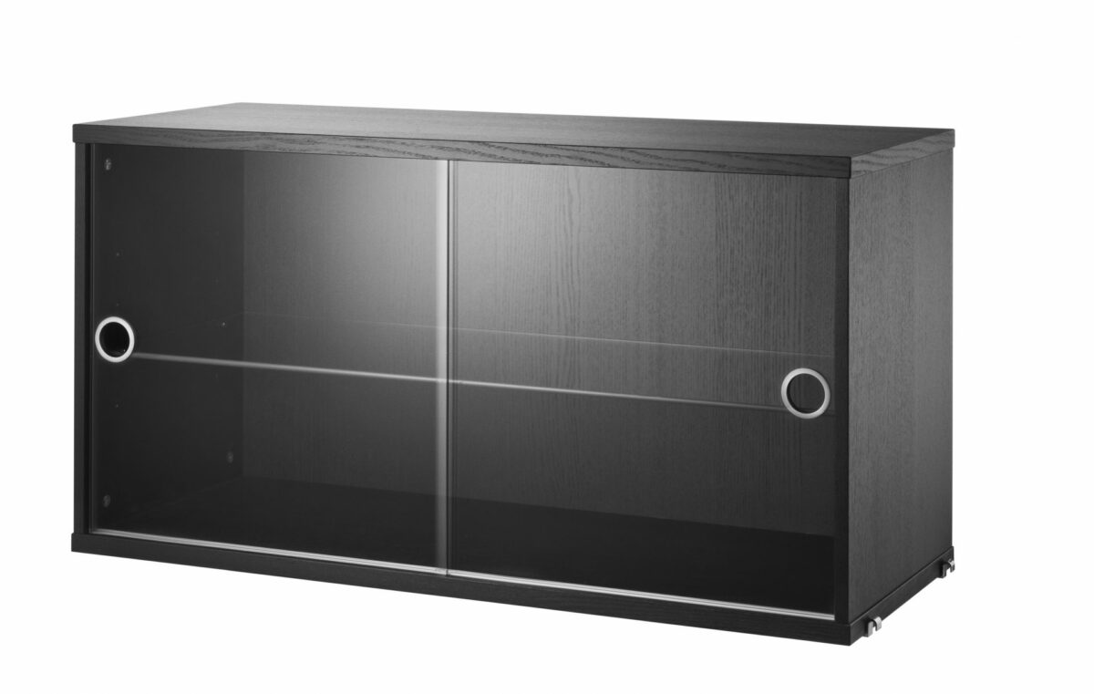 product display cabinet sliding doors glass blackstained ash