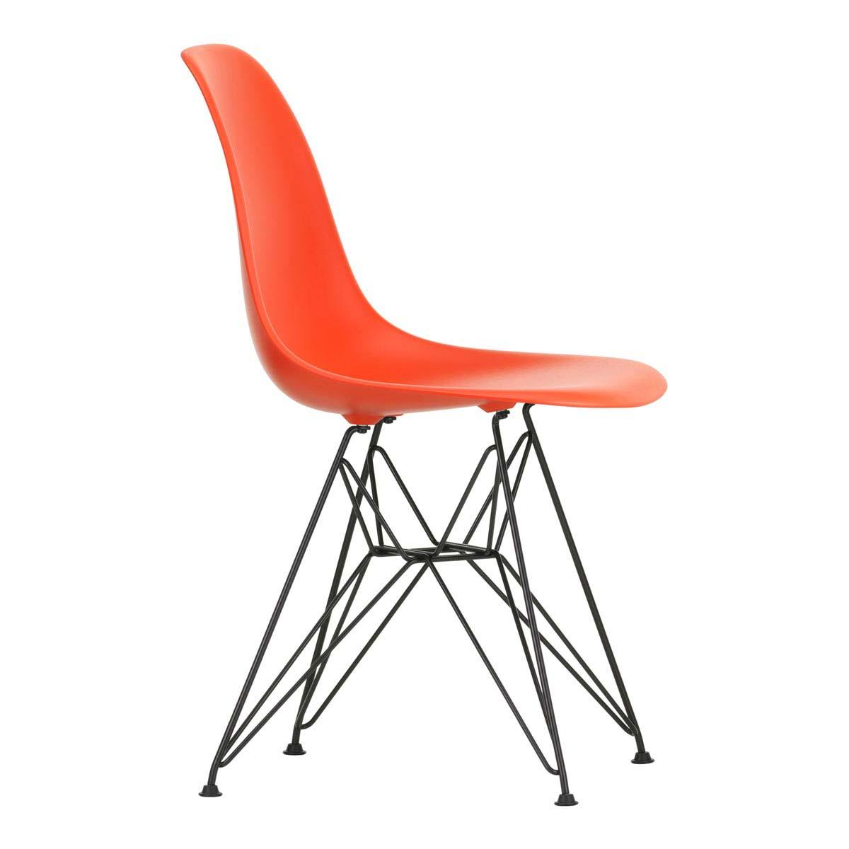 eames plastic chair dsr poppy red basic dark left
