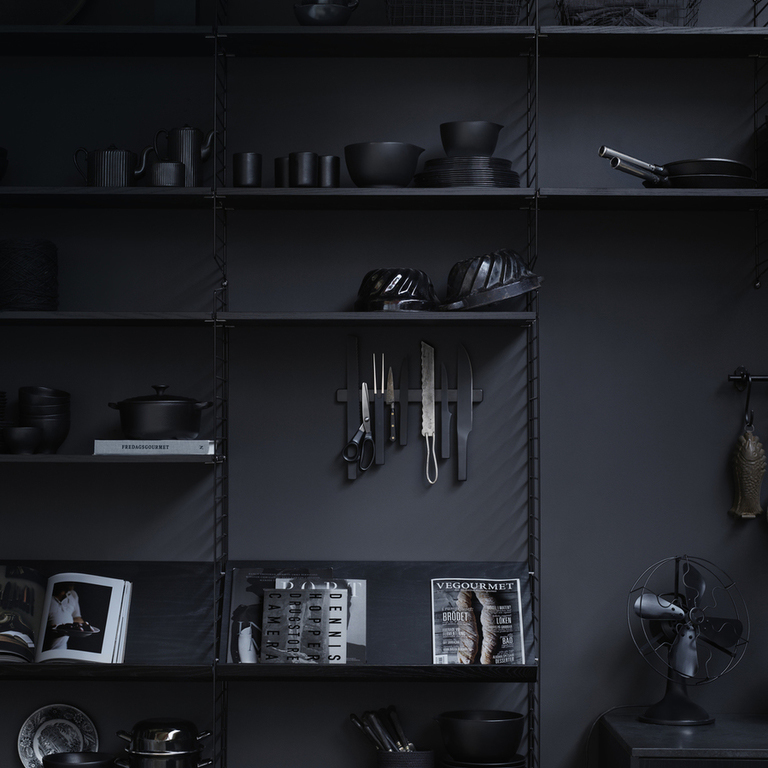 string system kitchen black stained ash closeup portrait medium