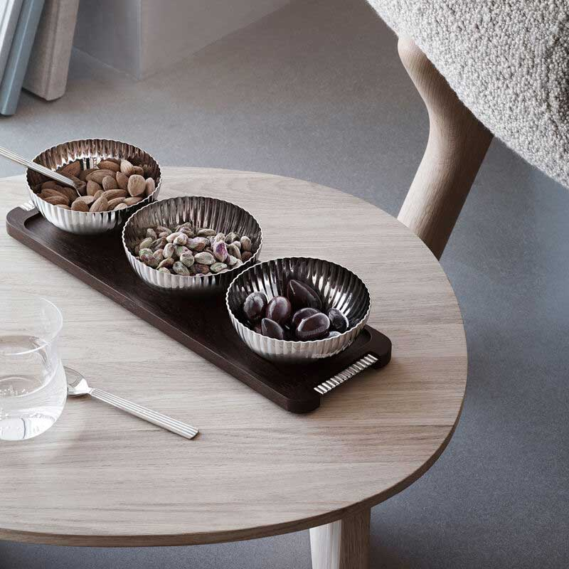 OnModel 10018216 BERNADOTTE TRIPPLE BOWL SET IN STAND WOOD AND STAINLESS STEEL